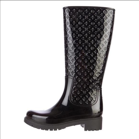 376f8e3d8ea Louis Vuitton Shoes - Louis Vuitton black rain boots rare